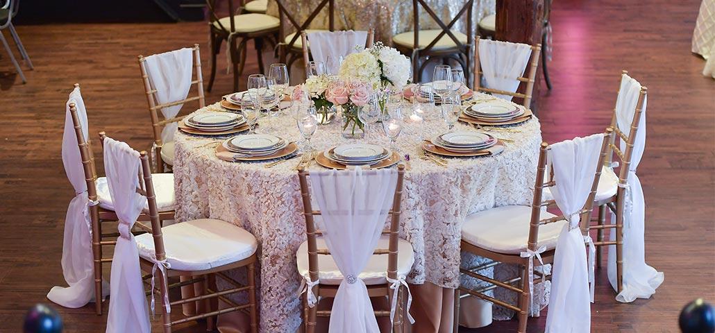 Old Montreal wedding table setup