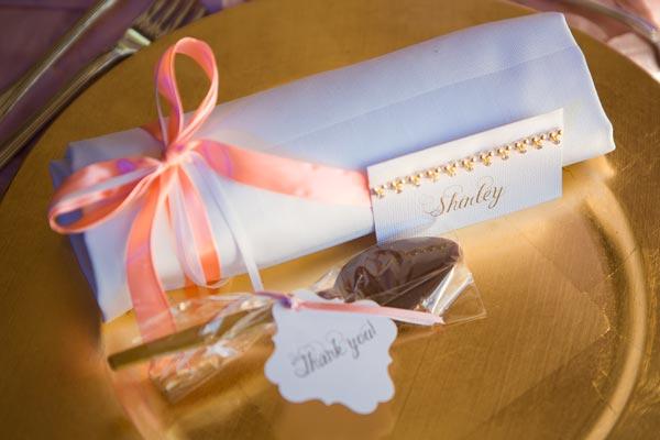 Creative wedding tablescape decor idea with blush ribbon