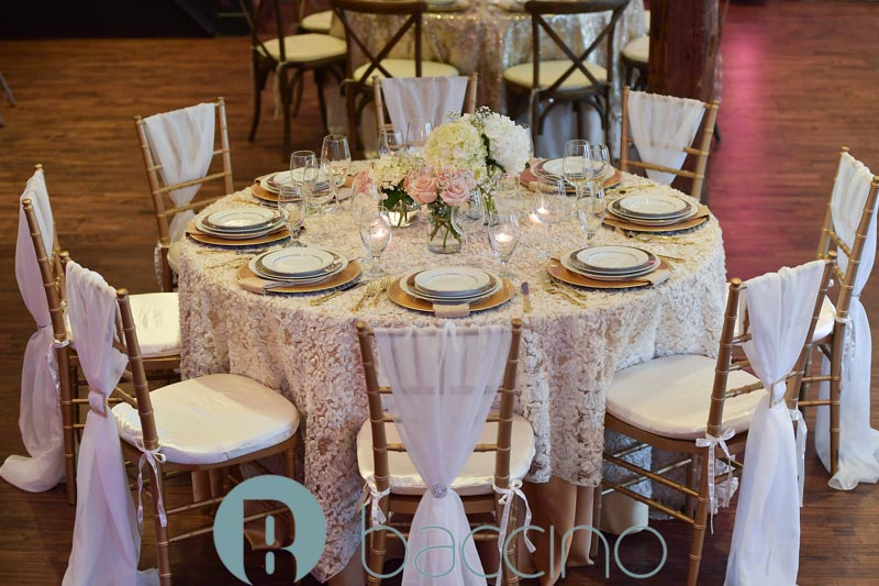 Gold and white table setup