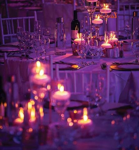 Floating candles centerpieces