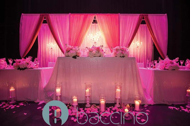 Head table decor and backdrop