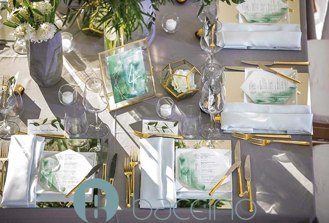 Montreal Parc Jean-Drapeau - La Toundra. Modern gold & sage table decor