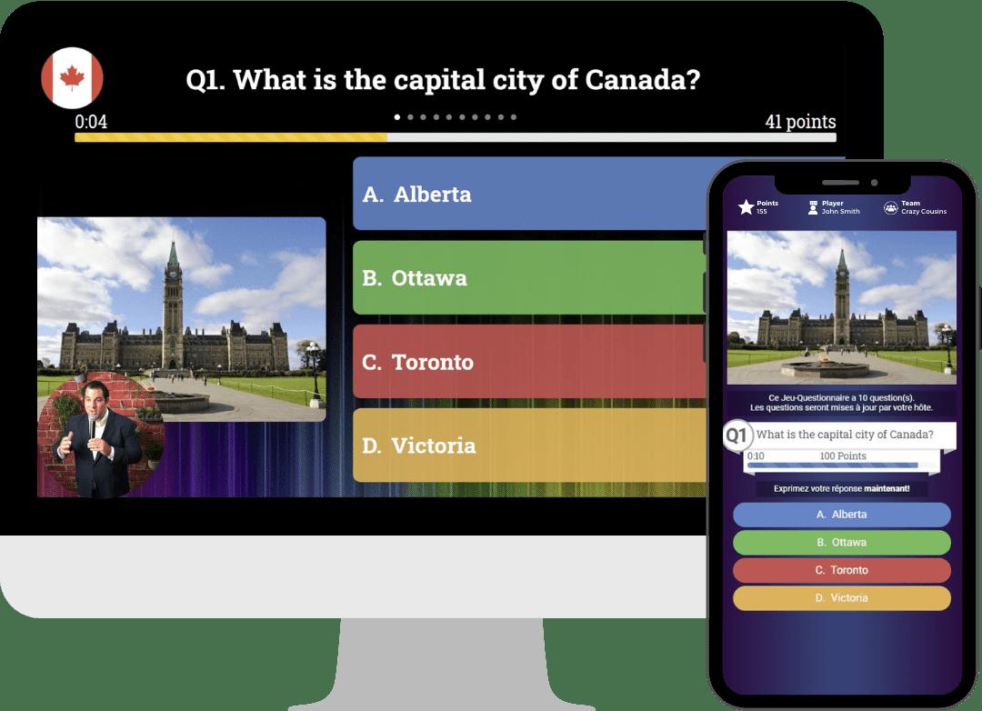 Virtual interactive trivia game